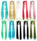 Good Quality 100 cm Long Vocaloid Hatsune Miku 2 Ponytails Straight Cosplay Wig