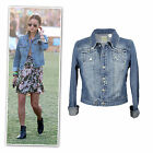 Classic blue denim distressed cropped jacket