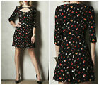 MARKS & SPENCER M&S BLACK & MULTI FLORAL KEY HOLE PARTY SUMMER DAY DRESS