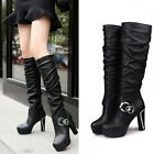 New Women Fashion Sexy High-heeled Snow Boots Knee High Party Solid PU Leather