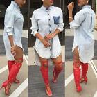 Womens Sexy Casual Blue Denim Jeans Shirt Blouse Top Party Clubwear Mini Dress