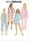 Butterick 6225 Pyjamas Nightie Nightdress Shorts Nightwear Sewing Pattern B6225