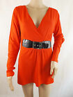 Women's Red tunic top with black belt long sleeve hip length Various sizes