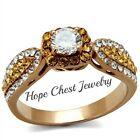 ROSE  GOLD TONE STAINLESS STEEL ORANGE & CLEAR CZ ENGAGEMENT RING SIZE 5 - 10