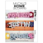 McCalls 3274 Novelty Cushions Letters Flower Heart Star Sewing Pattern M3274