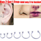 316L Surgical Steel Horseshoe Nose Lip Ear Piercing Hoop Ring Eyebrow Universal