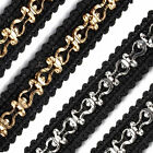 Braid Trim With Elaborate Metal Decoration 13mm Wide - By The Metre or Full Roll