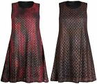 Womens Plus Size Sleeveless Ladies Lace Lined Swing Flared Skater Long Dress Top