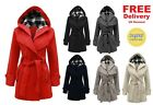 NEW LADIES BELTED BUTTON LONG COAT WOMEN HOODED FLEECE JACKET SIZES 8-14