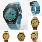 Real Bamboo Wooden Watch Case Womens Mens Genuine Leather Watch With Gift Box