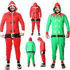 UNISEX MENS WOMENS RED SANTA GREEN ELF NOVELTY CHRISTMAS LADIES ONESIE JUMPSUIT
