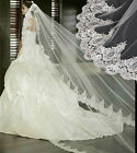 Beautiful 1 Layer 3m White Ivory wedding Bridal veil Cathedral Lace handmade