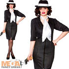 Gangster Gal Ladies Fancy Dress Mafia Moll 1920s Womens Adults Costume Outfit