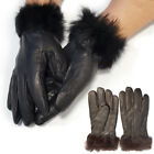 Ladies Faux Fur Trim Insulated Fashion Leather Gloves