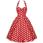 Red 60's Polka Dot Halter Dress Summer Swing Vintage Retro UK Sizes 6/8/10/12/14