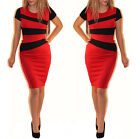 Womens Christmas Party Bodycon Striped Classy Pencil Midi Dress Jessica Wright