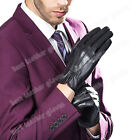 New Luxury  Men's Winter Genuine Napper Leather Gloves For Men Black Driving
