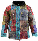 Men's Patchwork Hippie Fleece Lined Winter Jacket Bohemian Festival Hippy Hoodie