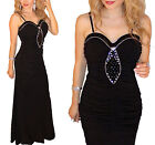 Black Strappy Maxi Cocktail Evening Dress Long Gown Wedding Party Formal Diva