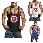 New Captain America Men Singlets Vest Stringer Bodybuilding Gym Fitness Tank Top
