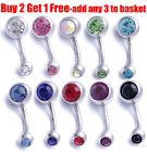 Surgical Steel Silver Belly Bar Navel Button Ring Double Crystal Body Piercing