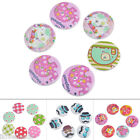 20PCs 30mm Mixed Round 2-Hole Wooden Buttons Craft Scrapbook Sewing Cardmaking