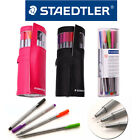 STAEDTLER Triplus Fineliner 12, 20 Colors Set Leather Pencil Case Pink, Black