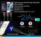 LED Glowing Lightning USB Data Charger Cable iPhone 6/6S 6 Plus 5/5C/5S iPad Air