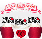 Wedding Mrs & Mrs Celebration Heart Party wafer Cupcake Topper cup cake