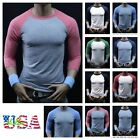 Men's 3/4 Sleeve Baseball T-Shirt Tri-blend Raglan Plain Casual Crew Neck S-3XL
