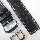 18MM BROWN w/WHITE STITCH CROC GRAIN ITALY LEATHER WATCH BAND STRAP FOR CK STY