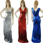 New Sexy Double V-neck Red Sequins long formal prom evening Party dresses 16 14