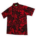Luau Summer Party Black Red Fusion Leaves Rayon Hawaiian Aloha Men Shirt-M-3XL