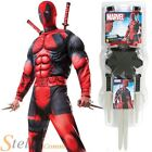 Mens Deluxe Deadpool Superhero Book Week Fancy Dress Costume + Weapon Sword Kit