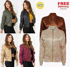 Womens Ladies Classic Padded Bomber Jacket Vintage Zip Up Biker Coat Stylish MA1