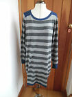 MARKS & SPENCER GREY STRIPED BLUE RELAXED  KNITTED JUMPER TUNIC DRESS 20 PLUS