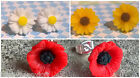 CUTE PRETTY MINI DAISY SUNFLOWER POPPY STUD EARRINGS GIRLS BRIDESMAIDS VINTAGE