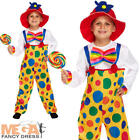 Clown Kids Fancy Dress Circus Boys Girls Childrens Costume + Child Hat Ages 4-12