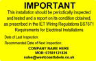 Electrical Safety Warning Labels - PERIODIC TEST INSPECTION - Personalised Free