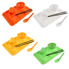 School Restaurant 6 Compartments Divided Plate Bowl Spoon Chopsticks Cup 5 in 1