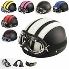 motorcycle helmets goggles - New Motorcycle Half Open Face Leather Helmet With Sun Visor and Goggles