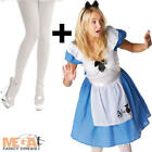 Alice in Wonderland + Tights Ladies Fancy Dress Womens Adults Disney Costume New