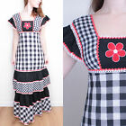 VINTAGE 1970S GINGHAM CHECKED FLORAL FLOWER APPLIQUE KITSCH HIPPY MAXI DRESS 8