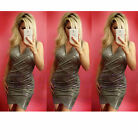 Womens Sexy Silver Grey Metalic Ruched Evening Party Wrap Bodycon Mini Dress
