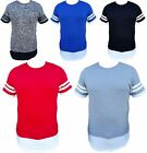Mens Long Fit Elongated T-Shirt 2 Tone Hip Hop Style Clothing Stripe Tee T609