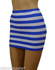 MINI SKIRT Blue White Stripe Lycra Stretch PARTY Nautical Sailor Women Club H119