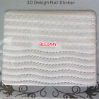 3D Nail Art Lace Stickers Decals Decoration Metallic Gold Silver Chain Lace Dots