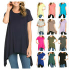 USA Women Scoop Neck Asymmetrical Hem Tunic Top Short Sleeve Casual Long T-Shirt