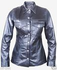 REAL LEATHER Ladies Long Sleeve Black Police Military Style Shirt   Most Sizes