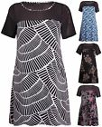 Womens Plus Size Printed Ladies Short Sleeve Mesh Panel Swing Flared Dress Top
